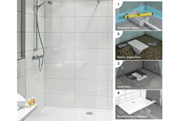 Einfacher Einstieg in die Dusche mit der Installationsbox