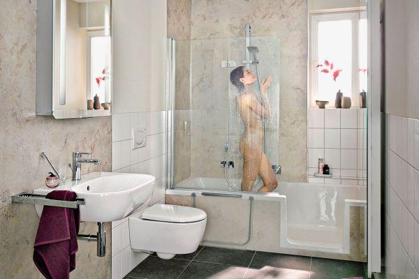 Kombi aus Dusche und Wanne: Duschwanne