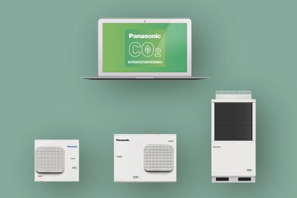 Kälteanlagen von Panasonic und ein geöffneter Laptop.