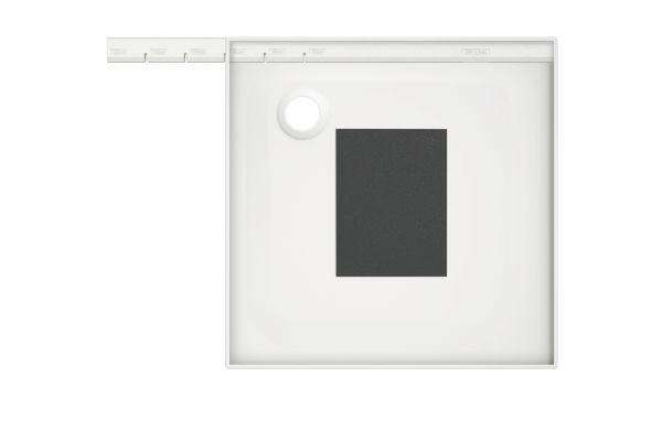 Das Bild zeigt das Nachrüst-Set und eine Duschfläche.