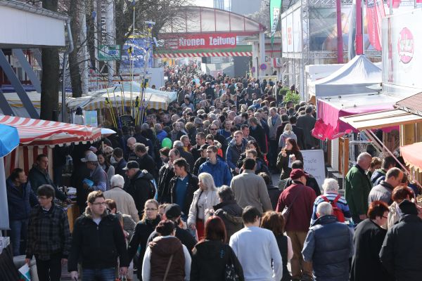 Das Bild zeigt Hunderte von Besuchern auf dem Außengelände der Fachmesse in Wels.