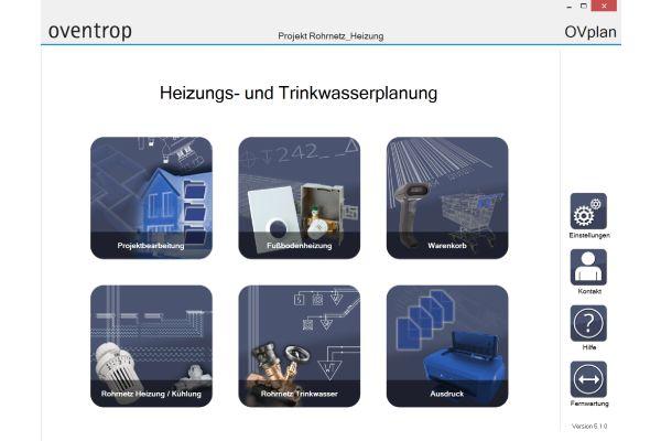 Screenshot der Auswahl der Heizungs- und Trinkwasserplanung aus der OVplan-Auslegungssoftware.