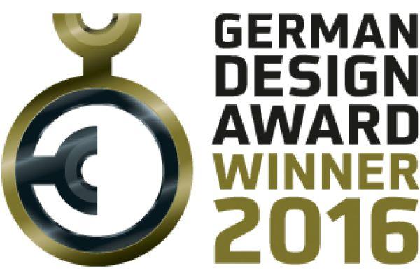 Das Bild zeigt das Logo vom German Design Award aus dem Jahr 2016. Damit werden Produkte ausgezeichnet, die unter anderem durch ihr Design besonders überzeugen.