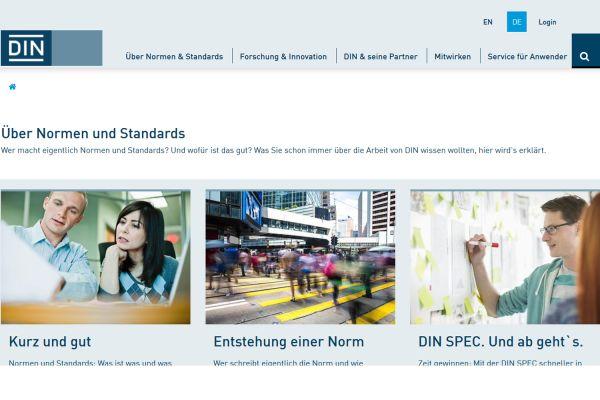 Screenshot von der DIN-Webseite.