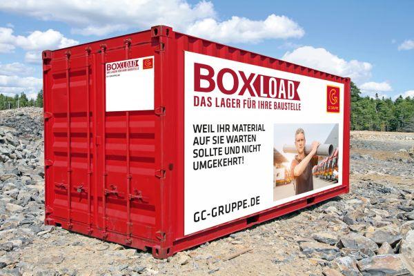 Ein Baustellencontainer mit Logo der GC-Gruppe.