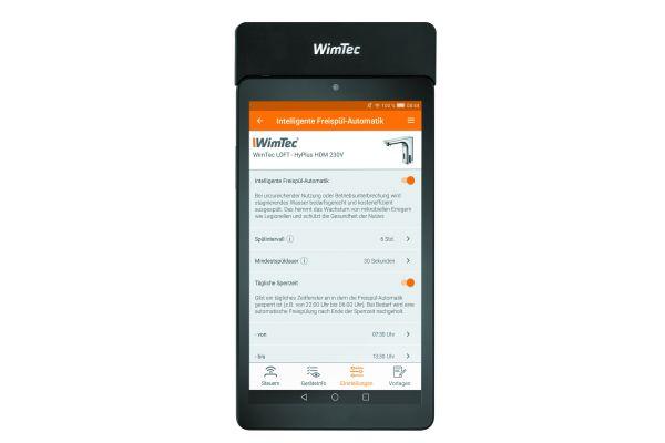 """Volle Kontrolle: Einfaches Einstellen, Steuern und Auslesen aller """"WimTec HyPlus""""-Wasserabgabestellen ist mit dem """"WimTec Infrarot""""-Tablet möglich."""