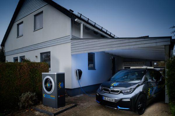 Ein Einfamilienhaus, daneben eine Wärmepumpe und ein E-Auto unter einem Carport.