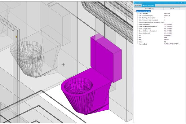 BIM-Modell einer Toilette.