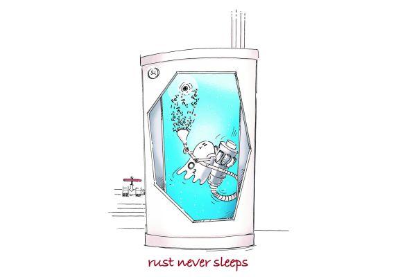 Der Comic zeigt einen Geist mit Staubsauger in einem Heizungswassertank.