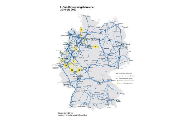 Deutschlandkarte mit den L-Gas-Umstellbereichen.