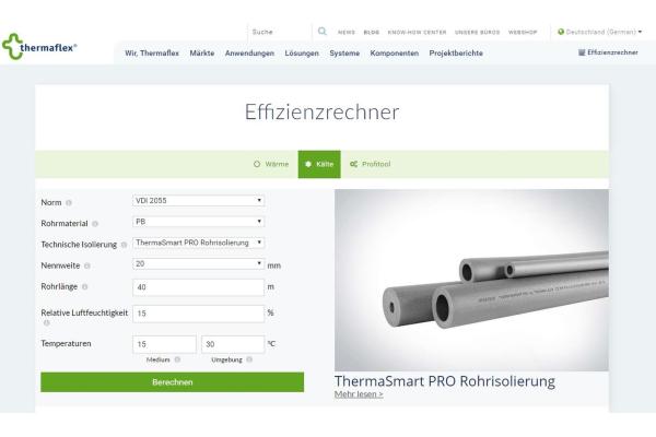 Online-Effizienzrechner von Thermaflex