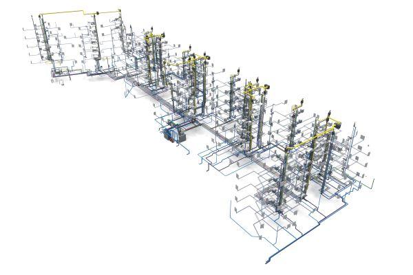 Mit DDS-CAD stellt ibz das Installationsmodell des gesamten Gebäudes detailgenau als IFC-Datei zur Verfügung.