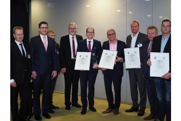Die Preisträger, der Laudator und der Vorstand des BVF anlässlich der Preisverleihung zum BVF-Award 2016 in Berlin.
