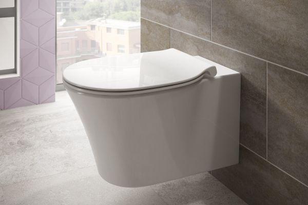 Das Bild zeigt das wandhängende, weiße WC aus der