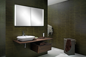"""Das Bild zeigt den Spiegelschrank """"ELUALINE"""" der W. Schneider+Co. AG mit seitlichen Lichtsäulen. Das Gehäuse besteht aus eloxiertem Aluminium."""
