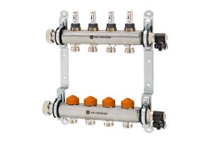 """Der Fußboden-Heizkreisverteiler """"Dynacon Eclipse"""" von IMI Heimeier integriert die neue, besonders kompakte Generation der automatischen Thermostat-Ventiltechnik komplett im Heizkreisrücklauf, während im Vorlauf Durchflussanzeigen zur Funktionskontrolle eingebunden sind."""