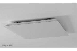 Die Infrarot-Deckenheizelemente des Unternehmens Vitramo bestehen aus einer 5 mm dicken satinierten ESG-Glasscheibe, die rückseitig durch eine Heizschicht, die elektrische Energie in Wärme umwandelt, erwärmt wird.