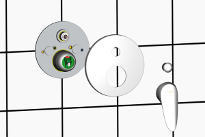 """Das Bild zeigt die """"EASY-Box"""" von Ideal Standard. Die Unterputztechnologie ermöglicht eine einfache und vor allem flexible Installation dank des """"FAST-FIX""""-Befestigungskonzeptes, wie die Grafik vor einem weißen Fliesenspiegel veranschaulicht."""