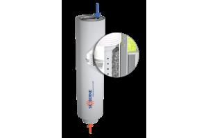 Skoberne-Abgasleitungen aus Kunststoff kommen seit vielen Jahren zuverlässig in Brennwertsystemen zum Einsatz – aber auch in KWK-Anlagen. Hier sind die Materialien deutlich höheren Belastungen ausgesetzt. Im Bild: Ein Abgas-Schalldämpfer für Mini- bzw. Mikro-BHKW.