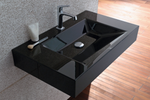 Waschtisch ganz in schwarz. Bette-Waschtische sind in vielen Farben erhältlich.