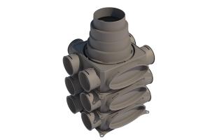 In der dreilagigen Ausführung bietet der Kompaktverteiler Anschlüsse für bis zu 18 Flach- oder Rundkanäle.