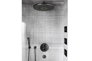 """Das Bild zeigt die schwarzen Duscharmaturen aus der Serie """"Ondus"""" von Grohe. Zu sehen ist eine Dusche mit Kopf-, Seiten- und Handbrause sowie die dazugehörigen Brausebatterien."""