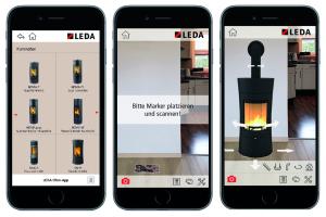 Drei Smartphone-Bildschirme zeigen die Ofen-App von Leda an.