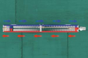 Schema der seriellen Zwangsdurchströmung des Heizkörpers.