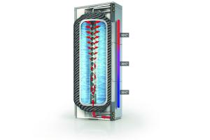 Ideal ist eine Temperaturschichtung im Wärmespeicher, beispielsweise mit 50 °C oben, 35 °C in der Mitte und 20 °C unten. So ist das heiße Wasser an der oberen Entnahme schnell verfügbar und kann von unten nachströmen.