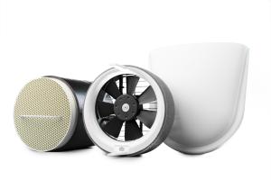 """Sensorfähiges Fertigstellungsset zur abschließenden Installation des """"Zewo  SmartFan""""-Lüftungsgeräts. Das Set besteht aus der Lüfter-Einheit mit Slot für den Sensor, einer Wärmetauscher-Einheit sowie der Innenblende mit Filter."""