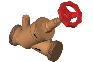 3D-Grafik eines Freistromventils.