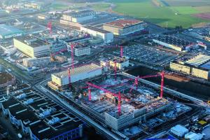 Luftbild der Baustelle der Verteilzentrale.