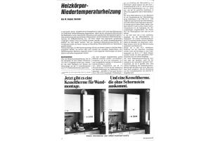 """Die erste Seite des HeizungsJournals-Artikels """"Heizkörper-Niedertemperaturheizung""""."""