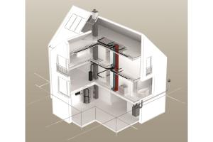 """Schema eines Einfamilienhauses mit dem """"Lüftungsnetzwerk Via Vento S""""."""