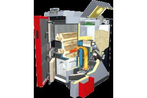 """Der Fröling-Kombikessel """"SP Dual"""" kann im Teil des Scheitholzkessels optional mit einer automatischen Wärmeübertragerreinigung ausgestattet werden."""