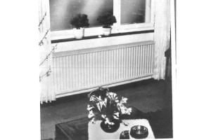 Ein Heizkörper unter einem Fenster.