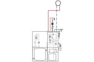"""Hydraulikschema der Brennstoffzellen-Energiezentrale """"Logapower FC10""""."""