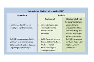 """Die Tabelle beschreibt den vereinfachten hydraulischen Abgleich mit der PAW-Pumpengruppe """"HeatBloC MC""""."""