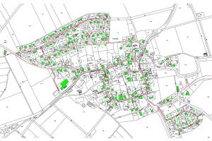 Der Trassenplan des Pfofelder Nahwärmenetzes: Heute werden 126 Einfamilienhäuser, zwei Gaststätten, ein Jugendheim und ein Sportheim mit Energie versorgt.