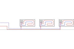 Schema der dezentralen Wohnungsverteilung mit Fußbodenheizung.