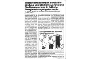 """Die erste Seite des HeizungsJournal-Artikels """"Energieeinsparungen durch Einbindung von Stadterneuerung und Siedlungsplanung in örtliche Energieversorgungskonzepte""""."""