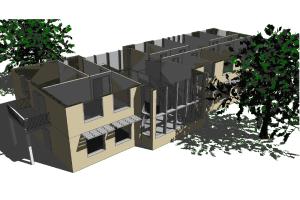 3D-Simulation eines Hauses in IDA ICE.