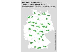 """Die Deutschlandkarte zeigt die Verteilung der ausgewählten Herbergen & Hotels am dena-Modellvorhaben """"Check-in Energieeffizienz""""."""