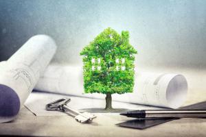 Eine Grafik mit Haus aus Bäumen, einem Schlüssel und Bauplänen im Hintergrund.