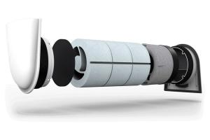 """Der neue Außenluftdurchlass (ALD), hier der """"Smart ALD"""", besteht aus drei Schalldämmringen, einer Winddrucksicherung mit Grobstaub- und Insektenfilter sowie einer Schallschutz-Innen- und Außenblende."""