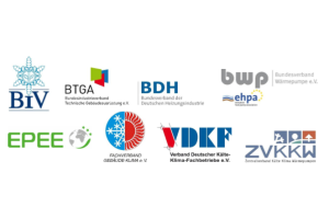 Logos der am Positionspapier zum F-Gas Phase down beteiligten Verbände.