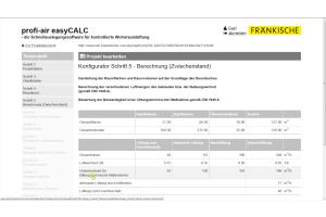 """Screenshot der Auslegungssoftware """"profi-air easyCALC""""."""