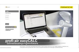"""Screenshot der Startseite der Berechnungssoftware """"profi-air easyCALC""""."""
