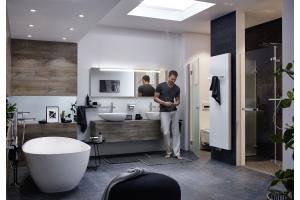 """Ein Badezimmer, eingerichtet mit Produkten aus der """"TUSCA""""-Serie von Kermi."""