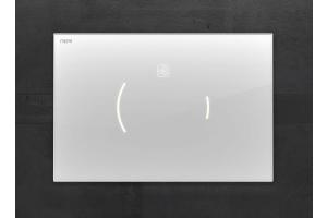 """Die elektronische WC-Betätigungsplatte """"Zero Lumo"""" mit eleganter Design-Oberfläche aus Glas."""